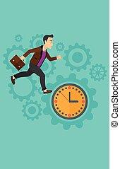 Running man on clock background.
