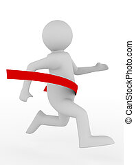 running man on white background. Isolated 3D image