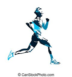 Running man profile, blue abstract vector silhouette