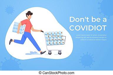 Running man pushing supermarket trolley full of toilet paper. Coronavirus panic 2020 concept. Stocking up toilet paper for home quarantine. Panic Covid-19 outbreak. Covidiot