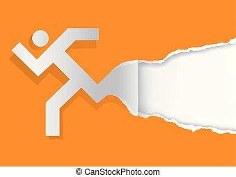 Running man ripping orange paper background.