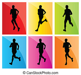 Running man set vector background