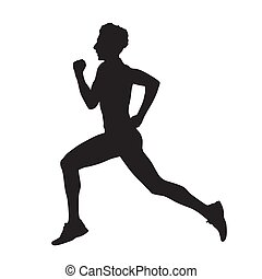 Running man side view vector silhouette