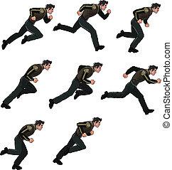 Running Man Sprite - Vector illustration of man running...