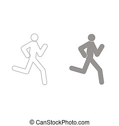 Running man - stick grey color set icon .