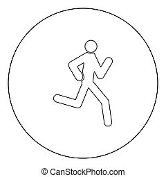 Running man - stick icon black color in circle