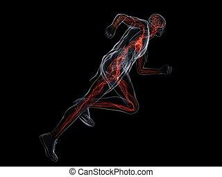running man - 3d rendered illustration of a transparent...