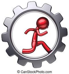 Running man stylized red character inside black gear wheel