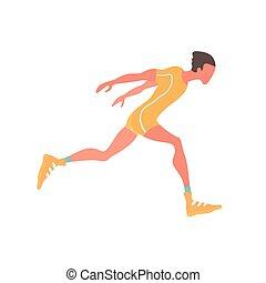 Running man. Vector illustration, isolated on white.
