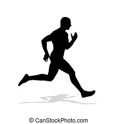 Running man vector silhouette. Run, individual summer sport. Isolated sprinter on white background