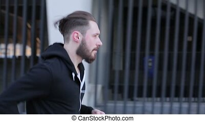 Running man with a beard