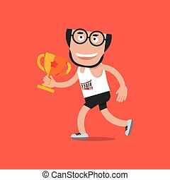 Running Man With Trophy Vector Illustration
