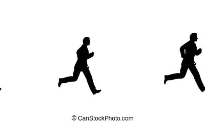 running many businessmen looping seamless slow motion