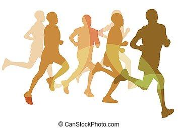 Running marathon people group vector illustration