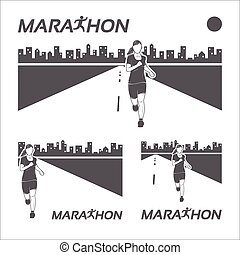 Running marathon retro logo