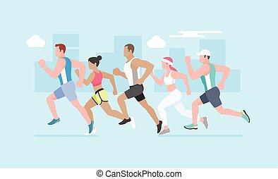 Running marathon. Vector Illustration.