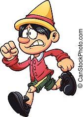 Running marionette - Running cartoon marionette. Vector clip...