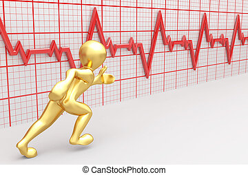 Running men and chart heartbeat. 3d - Running men on the ...
