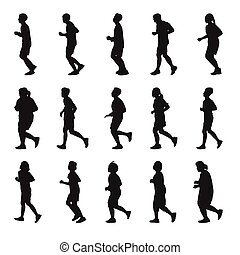 Running men and women Silhouette vector collection