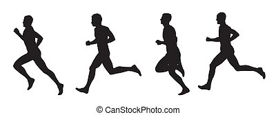 Running men, set of vector silhouettes