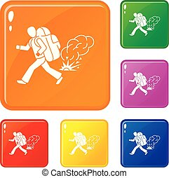 Running migrant man icons set vector color