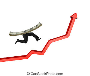 Running money with human legs on red arrow up graph
