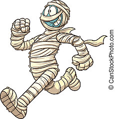Cartoon running mummy. Vector clip art illustration with simple gradients. All in a single layer.
