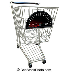 Running on Empty - Shopping Cart - A shopping cart with fuel...