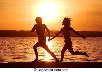 Running on the seashore