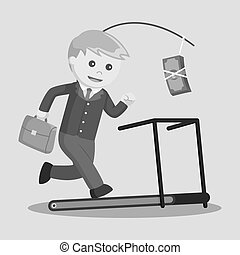 Running on treadmill to get money illustration design