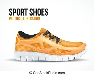 Running orange shoes. Bright Sport sneakers symbol.
