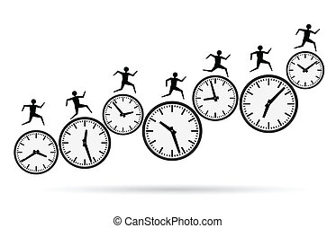 running out of time, busy concepts - vector illustrations of...