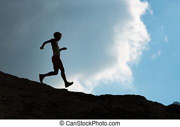 Running over rocks downhill