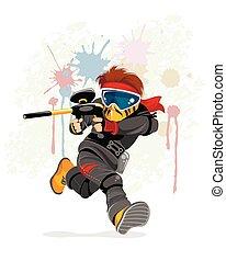 Running paintball player