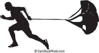 Running Parachute - Training of athletes with a parachute....