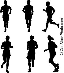 Running people - Drawing competition on the run. Silhouettes...