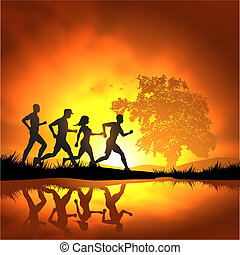 Running People - People running cross country. Vector...