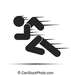 Running people in motion. Simple symbol of run isolated on a white background. Vector Illustration.