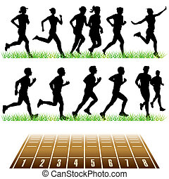 Running people set