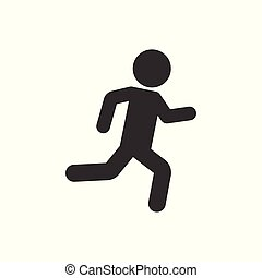 Running people sign icon in flat style. Run silhouette vector illustration on white isolated background. Motion jogging business concept.