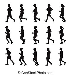 Running people silhouettes vector collection