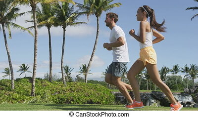 Running People. Slow motion video of multiethnic young ...
