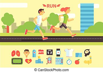 Running people, sports and physical activity equipment horizontal banners vector Illustrations