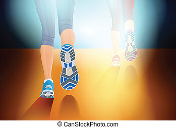 Running people - Two pairs running legs backside view on...