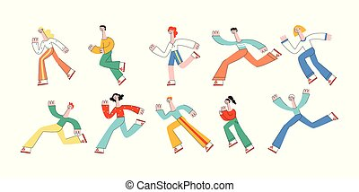 Running people vector illustration set in modern flat style.