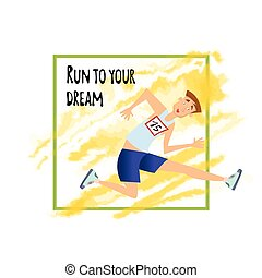 Running person. Man jumping over the barrier. Vector illustration, isolated on white background.