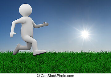 running person on grass. Isolated 3D image