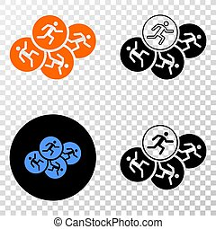 Running Persons Vector EPS Icon with Contour Version