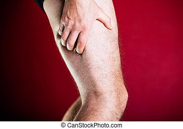 Running physical injury, leg pain. Runner sore body after exerci
