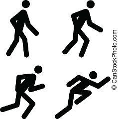Running Pictograms - Racing, Jogging, Running, Walking - ...